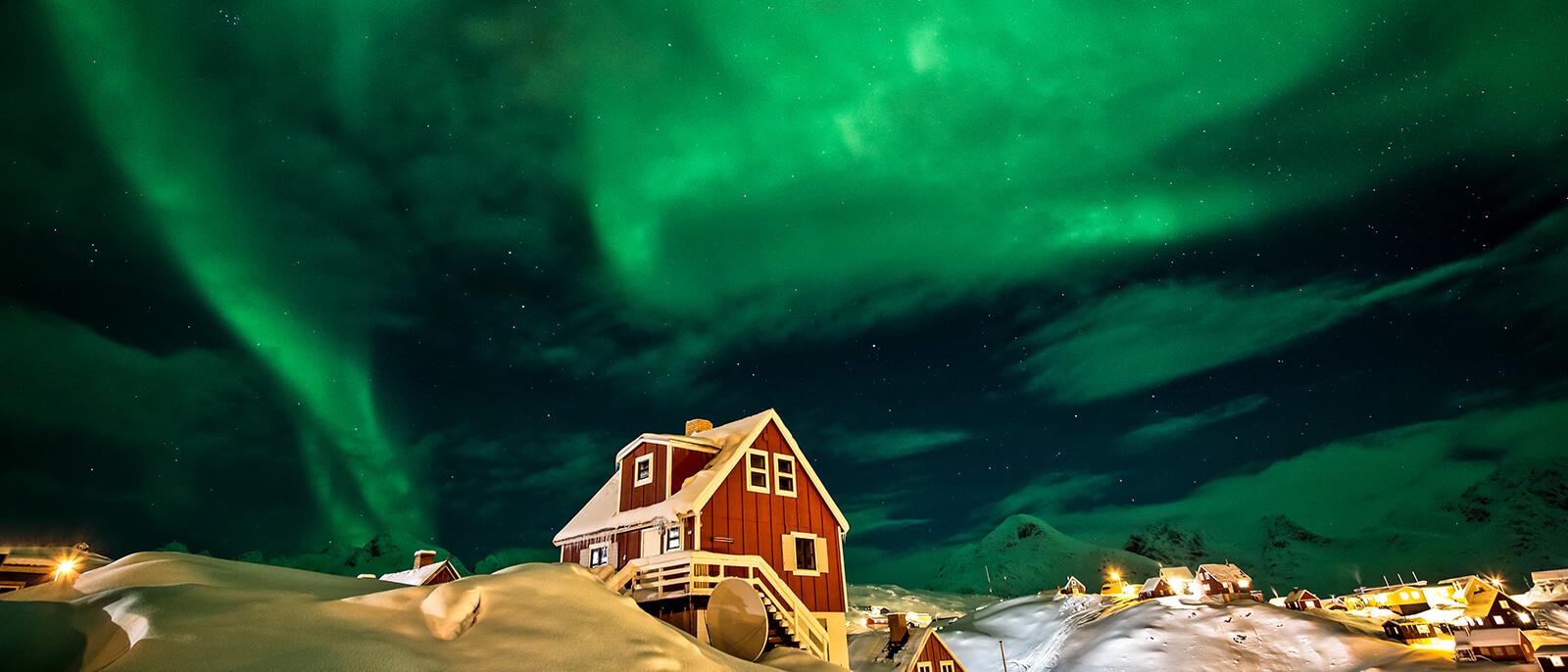 im hohen norden nordlichter schnee natur landschaft haeuser